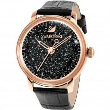 Swarovski Crystalline Hours Watch, Leather strap, Black, Rose gold tone 施华洛世奇Crystalline Hours 腕表, 真皮表带, 黑色, 玫瑰金色调 5295377