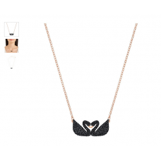 Swarovski New Iconic Swan Double Necklace, Black 5296468 施华洛世奇标志性天鹅双项链,黑色