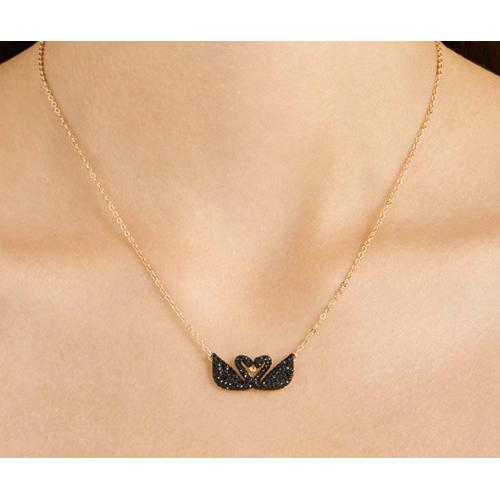 72276215c Swarovski New Iconic Swan Double Necklace, Black 5296468 施华洛世奇标志性天鹅双项链, ...