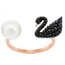 Swarovski  New Iconic Swan Ring, Black 施华洛世奇新标志性天鹅戒指,黑色